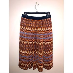 Stretch band flowy colorful Aztec print skirt